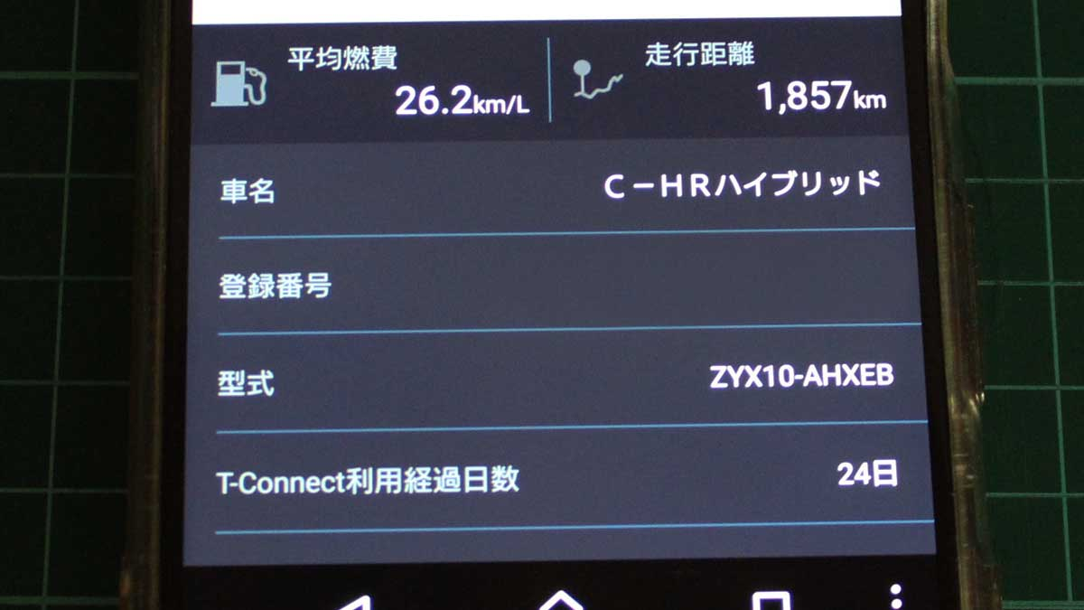 T-Connectアプリ「マイカーログ:平均燃費」