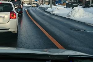 道路の雪が溶けました