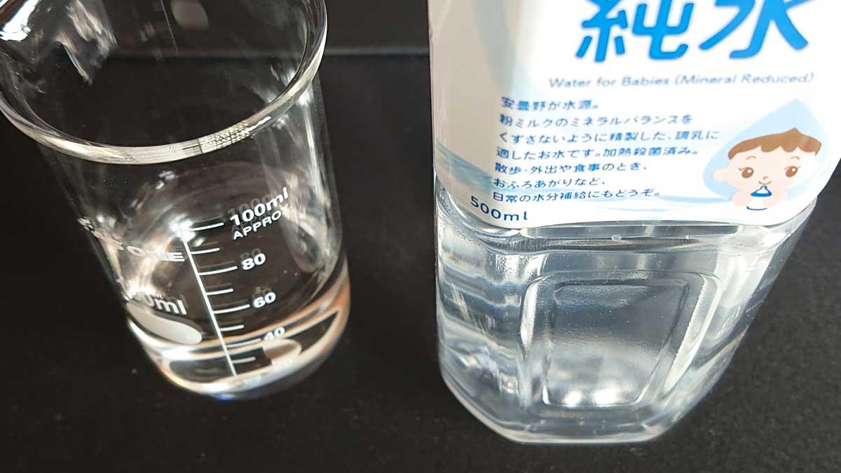 純水を42.8mL
